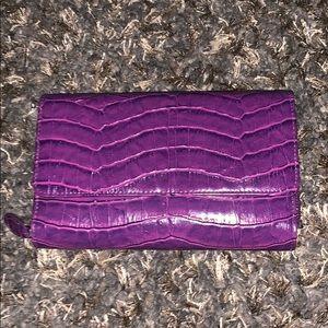 Vegan Leather Croc Plum Wallet